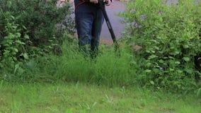 Malas hierbas del jardín del ajuste alrededor de la yarda almacen de video