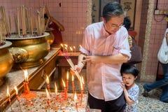 Malasia, en Kuala Lumpur durante Año Nuevo chino en el pecado Sze Si Ya Temple Foto de archivo libre de regalías