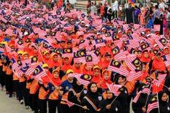 Malasios en la celebración malasia reciente del Día de la Independencia imagen de archivo