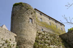 Malaspina castle huge wall, Fosdinovo stock photo
