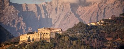 Massa. View of Malaspina Castle. In the background the Apuan Alps. Massa - Tuscany - Italy. royalty free stock photography