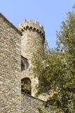 Malaspinakasteel om toren, Fosdinovo stock afbeelding