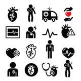 Malattia cardiaca, attacco di cuore, icone della malattia cardiovascolare messe Fotografia Stock