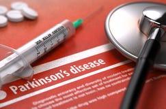 Malattia del Parkinson - diagnosi stampata sull'arancia Fotografia Stock Libera da Diritti