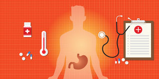 Malattia gastrica con medicina Fotografia Stock
