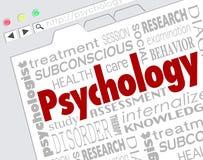Malattia online Disorde di salute mentale di ricerca del sito Web di psicologia Fotografia Stock