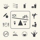 Malattie e prevenzione relative di obesità Le icone di vettore hanno impostato Fotografia Stock Libera da Diritti