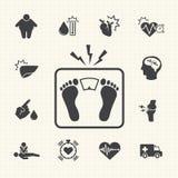 Malattie e prevenzione relative di obesità Le icone di vettore hanno impostato Fotografie Stock