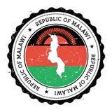 Malawi översikt och flagga i den rubber stämpeln för tappning av Royaltyfri Foto
