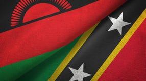 Malawi, święty i dwa flagi tekstylny płótno, tkaniny tekstura ilustracji