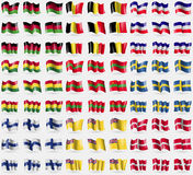 Malawi, Bélgica, altos do Los, Bolívia, Transnistria, Suécia, Finlandia, Niue, ordem militar Malta Grupo grande de 81 bandeiras Fotografia de Stock Royalty Free