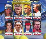 Great tennis players. Malawi - CIRCA 2012: stamp printed by Malawi, shows great tennis players, circa 2012 Royalty Free Stock Photos