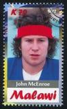 John McEnroe. Malawi - CIRCA 2012: stamp printed by Malawi, shows John McEnroe, circa 2012 Royalty Free Stock Photo