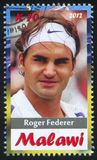 Roger Federer. Malawi - CIRCA 2012: stamp printed by Malawi, shows Roger Federer, circa 2012 Royalty Free Stock Photo