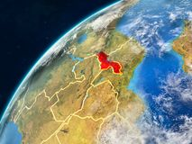 Malawi on Earth with borders. Malawi on realistic model of planet Earth with country borders and very detailed planet surface and clouds. 3D illustration royalty free stock photography