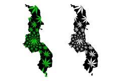 Malawi - el mapa es hoja diseñada del cáñamo