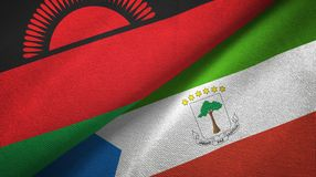 Malawi and Equatorial Guinea two flags textile cloth, fabric texture. Malawi and Equatorial Guinea two folded flags together vector illustration