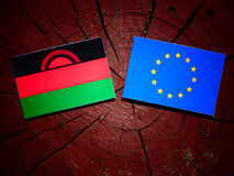 Malawi flag with EU flag on a tree stump isolated Royalty Free Stock Photography