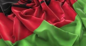 Malawi Flag Ruffled Beautifully Waving Macro Close-Up Shot Royalty Free Stock Photography