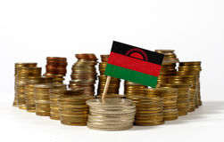 Malawi flag with stack of money coins Stock Images