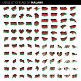 Malawi flag, vector illustration. On a white background. Big set Royalty Free Stock Images