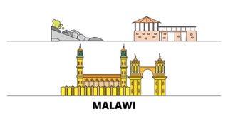 Malawi flat landmarks vector illustration. Malawi line city with famous travel sights, skyline, design. Malawi flat landmarks vector illustration. Malawi line royalty free illustration