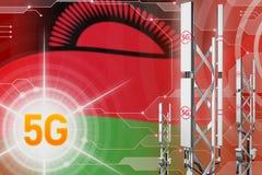 Malawi 5G przemysłowa ilustracja, ogromny komórkowy sieć maszt lub wierza na nowożytnym tle z flagą, - 3D ilustracja royalty ilustracja