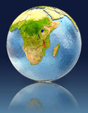 Malawi on globe with reflection. Illustration with detailed planet surface. Elements of this image furnished by NASA Stock Image