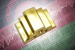 Malawi gold reserves. Shining golden bullions lie on a malawi flag background Royalty Free Stock Image