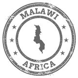 Malawi grunge rubber stamp map and text. Stock Photo