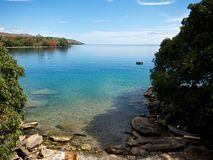 Malawi Lake. View on the Lake of Malawi. Clean fresh lake of Africa Royalty Free Stock Images