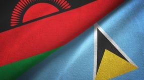 Malawi Lucia i święty dwa flagi tekstylny płótno, tkaniny tekstura ilustracja wektor