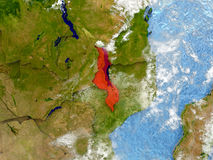Malawi on map with clouds Stock Image
