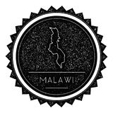Malawi Map Label with Retro Vintage Styled Design. Hipster Grungy Malawi Map Insignia Vector Illustration. Country round sticker Stock Image