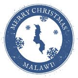 Malawi map. Vintage Merry Christmas Malawi Stamp. Stylised rubber stamp with county map and Merry Christmas text, vector illustration Stock Photos