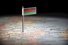 Malawi marked with a flag on the map.  stock image
