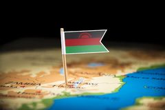 Malawi marked with a flag on the map.  royalty free stock images