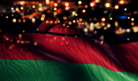 Malawi National Flag Light Night Bokeh Abstract Background Royalty Free Stock Images