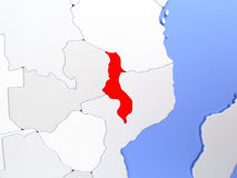 Malawi in red on map Royalty Free Stock Photo
