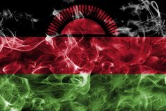 Malawi smoke flag with a black background. Malawi smoke flag Stock Photo