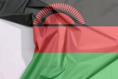 Malawi tkaniny flaga zagniecenie z biel przestrzenią i krepa obrazy royalty free