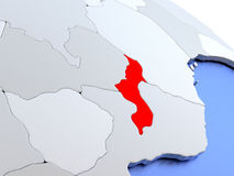 Malawi on world map Stock Photos