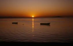 Malawi zachód słońca nad jezioro Obrazy Royalty Free