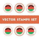 Malawian flag rubber stamps set. National flags grunge stamps. Country round badges collection Royalty Free Stock Images