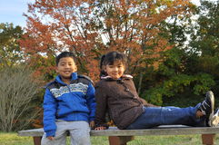Malay brother and his sister pose for a sho. A muslim brother and his sister pose for a shot on a bench with autumn trees background Royalty Free Stock Photos