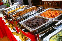 Malay Buffet. Variety of traditional Malay dishes served at famous hotel in buffet style Royalty Free Stock Photo