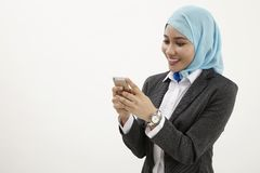 Malay business woman talking Royalty Free Stock Images
