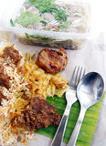 Malay ethnic food takeout. An image showing some delicious Malay ethnicity cuisine presented as takeaway food. Main course is white rice that comes with curry stock image