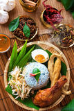 Malay food nasi kerabu. Traditional Malaysian food, Asian cuisine. Nasi kerabu is a type of nasi ulam, popular Malay rice dish. Blue color of rice resulting from royalty free stock photo