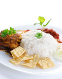 Malay food Nasi lemak. Nasi lemak traditional malaysian hot and spicy rice dish. Served with belacan, ikan bilis, acar, peanuts and cucumber. White background stock photos